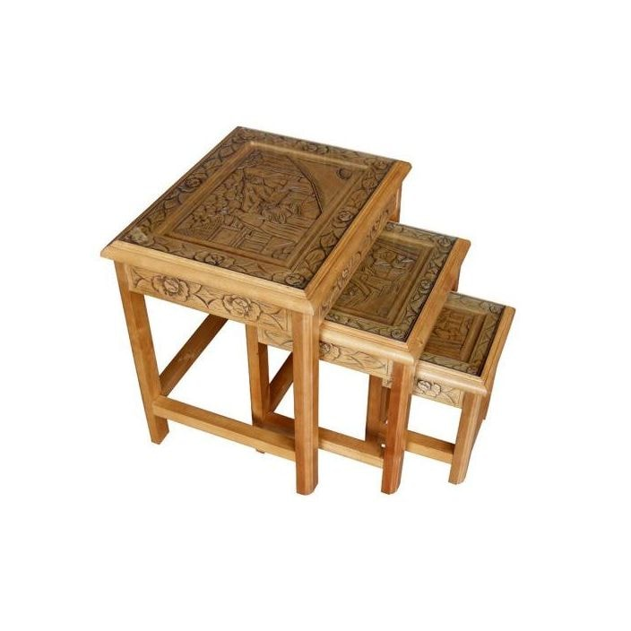 Superior Set Of Tables Part - 8: Set Of 3 Nest Of Tables With Glass Top