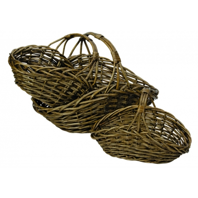 Set Of 3 Oval Willow Baskets