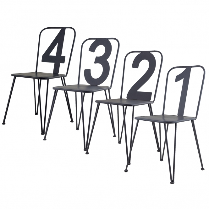 Set of 4 Numbers Metal Chairs