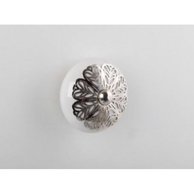Set Of 4 Silver Filigree Drawer Knobs