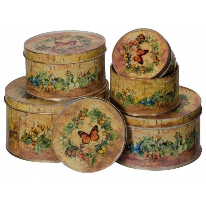 Set Of 5 Butterfly Round Tins