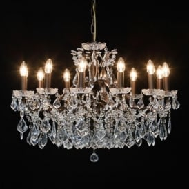 Shallow 12 Branch Bronze Antique French Style Chandelier
