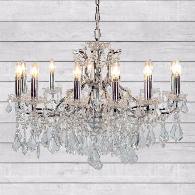 Shallow 12 Branch Chrome Antique French Style Chandelier