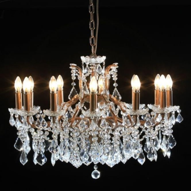 Shallow 12 Branch Gold Antique French Style Chandelier
