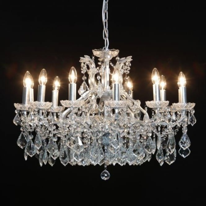 Shallow 12 Branch Silver Antique French Style Chandelier