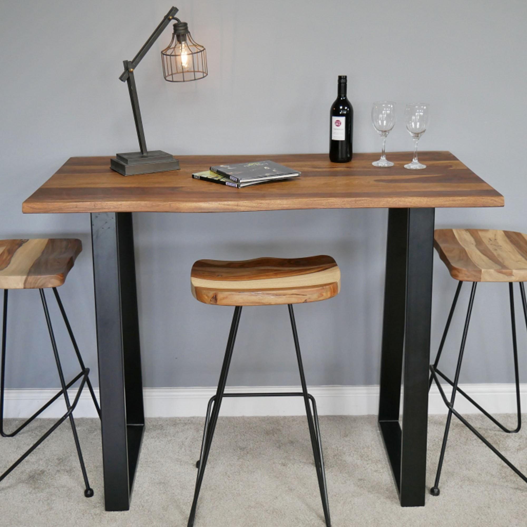 Sheesham Wooden Top Living Edge Breakfast Bar Table