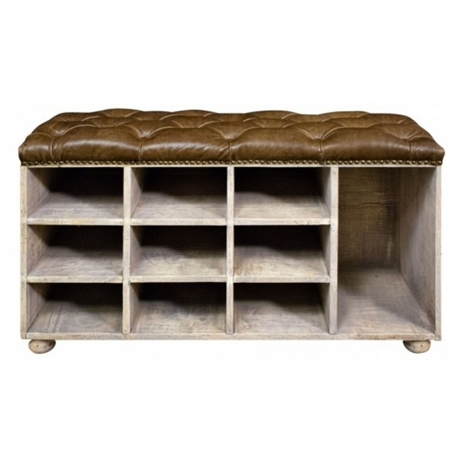 Shoe Bench With Buffalo Hide Seat