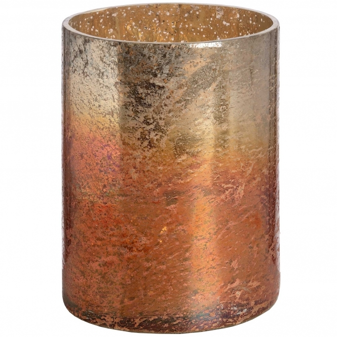 Short Copper Metallic Glass Large Candle Holder