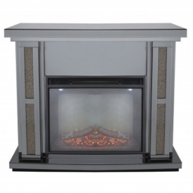 Siena Smoked Copper Mirrored Fire Surround With Electric Fire