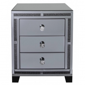 Siena Smoked Mirrored Bedside Cabinet