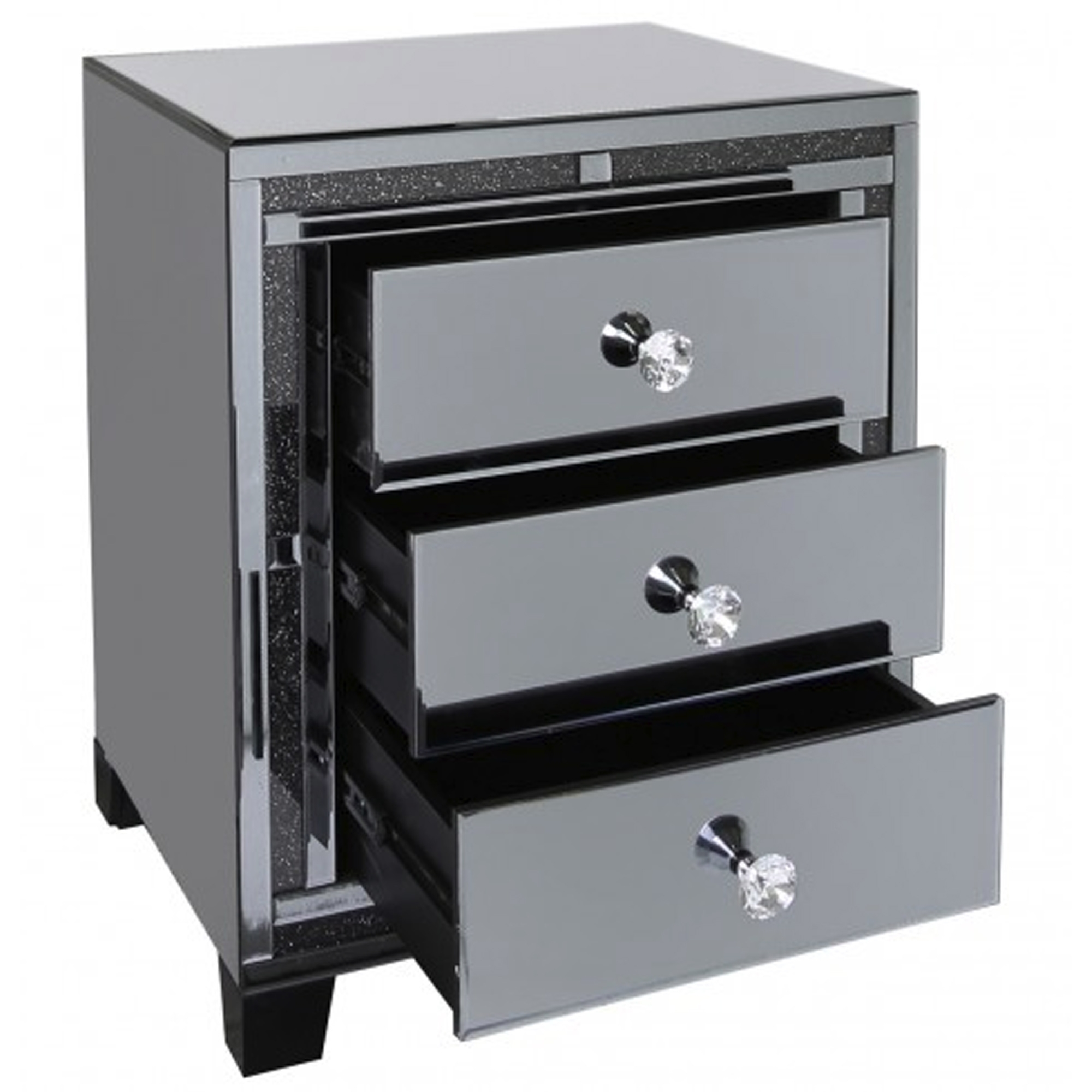 Siena Smoked Mirrored Bedside Cabinet Collection