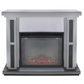 Siena Smoked Mirrored Fire Surround With Electric Fire