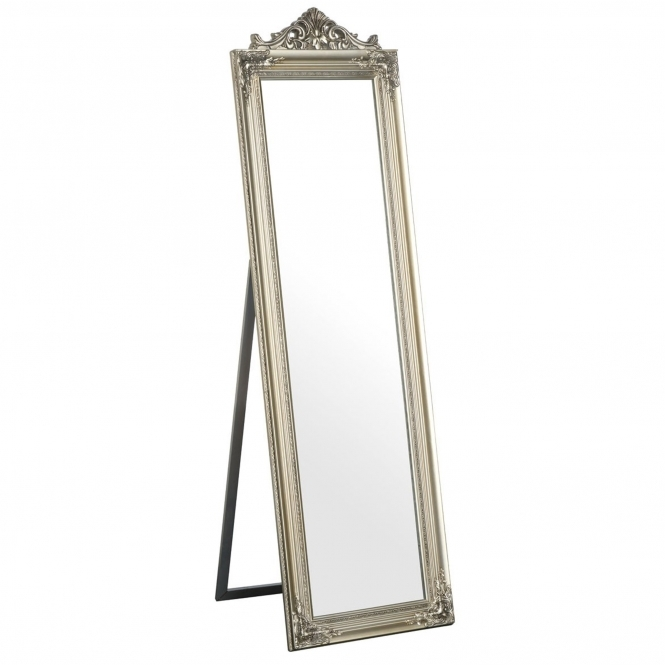 Silver Antique French Style Boudoir Floor Standing Mirror