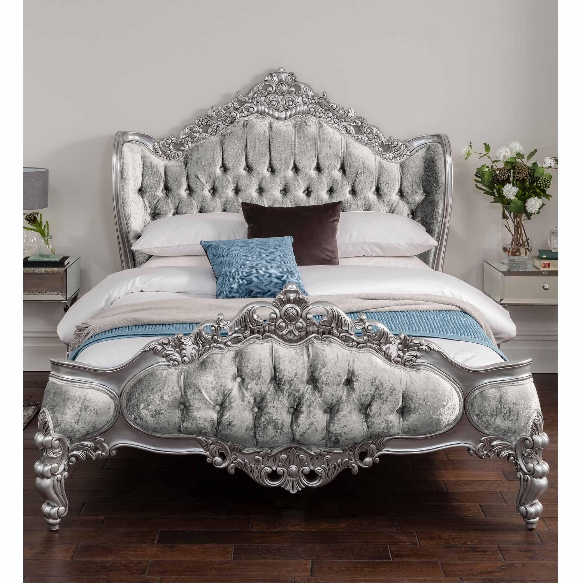 Antique French Style Bed Crushed Velvet French Beds Online Now