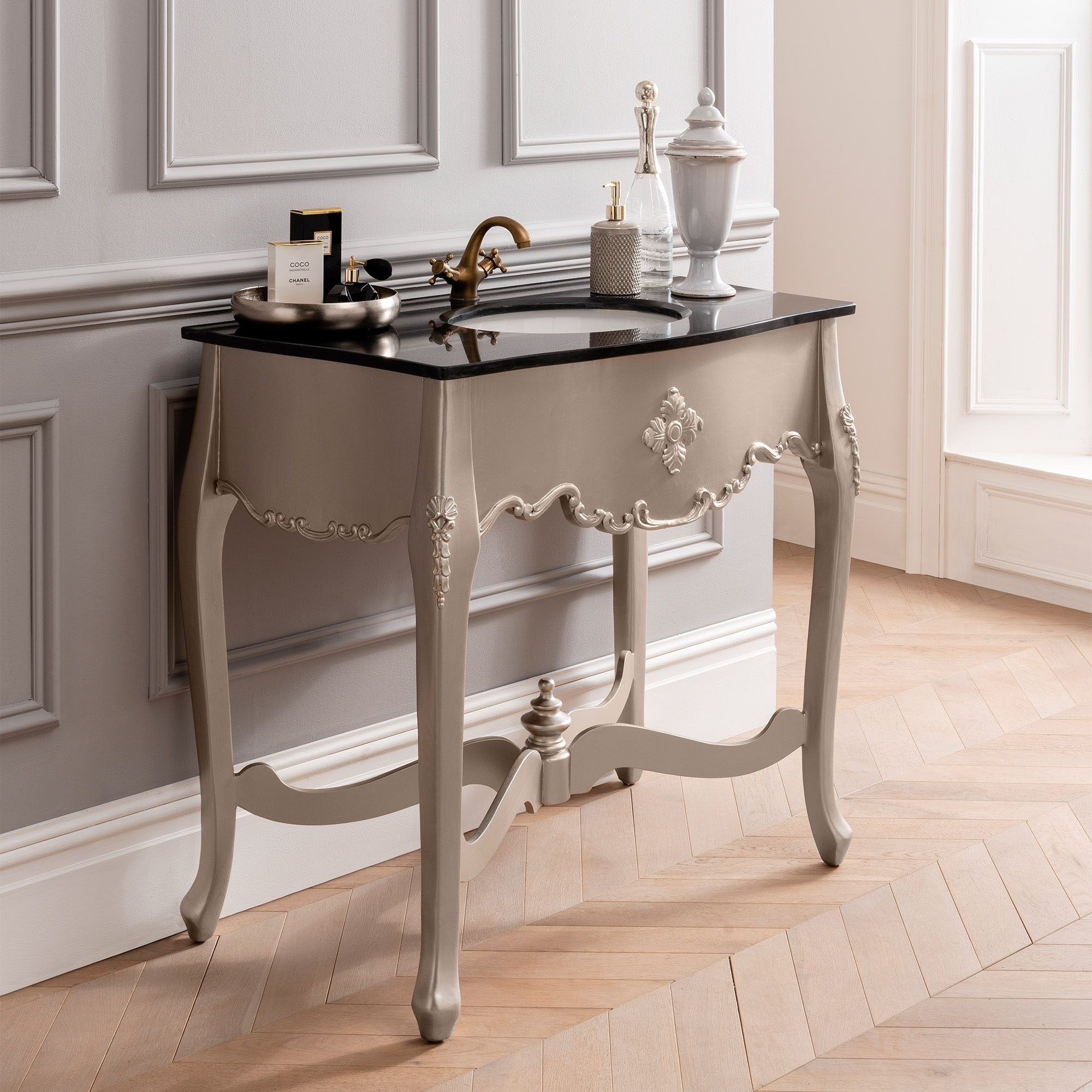 Silver Antique French Style Vanity Unit Bathroom Furniture