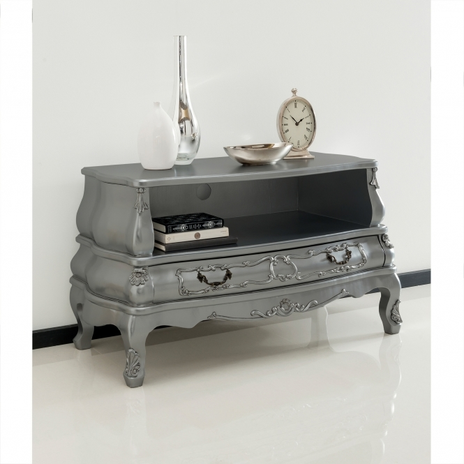 Silver Bergere Antique French Style TV Cabinet