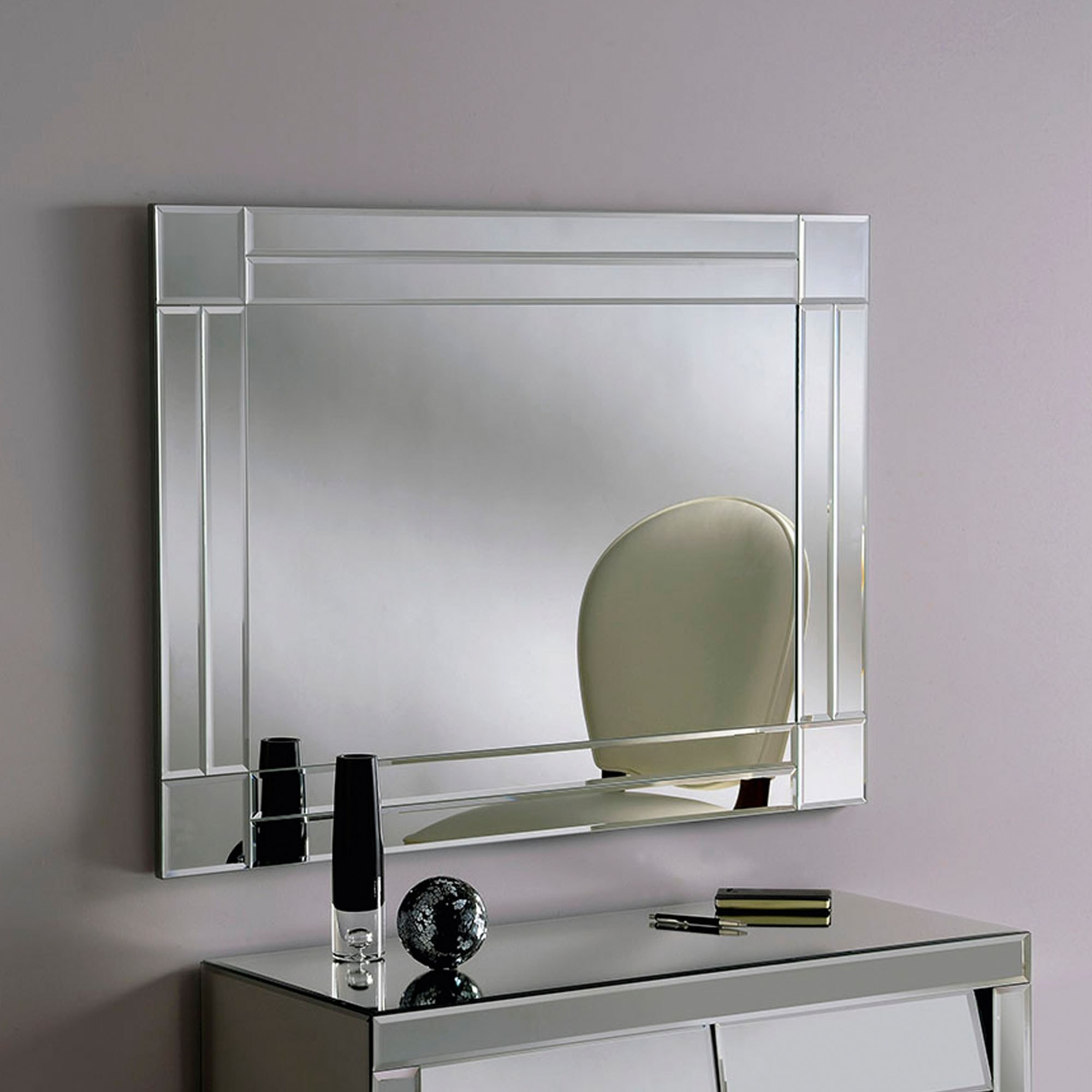 Silver Beveled Contemporary Wall Mirror Contemporary Wall Mirrors