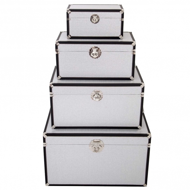 Silver & Black Storage Box (Set of 4)