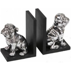 Silver Bulldog Bookends