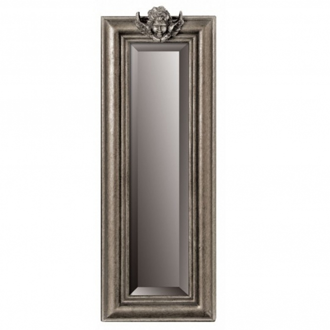 Silver Cherub Slim Wall Mirror