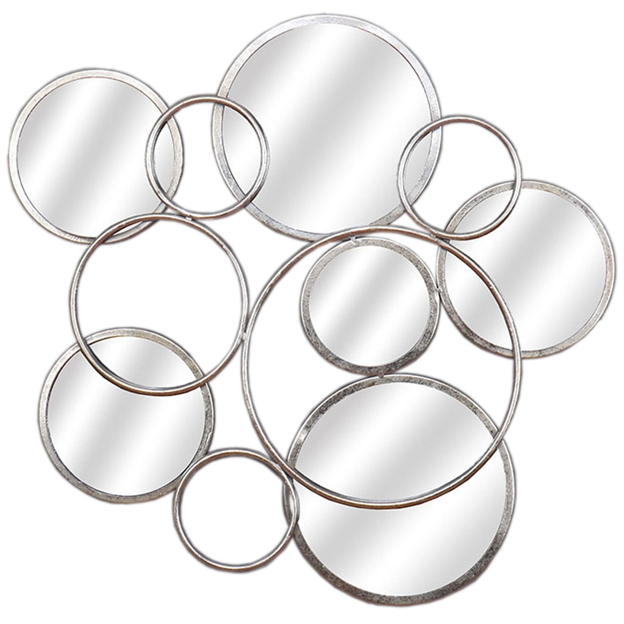 Silver Circular Abstract Mirrored Wall Art Mirrored Wall Art Wall Art