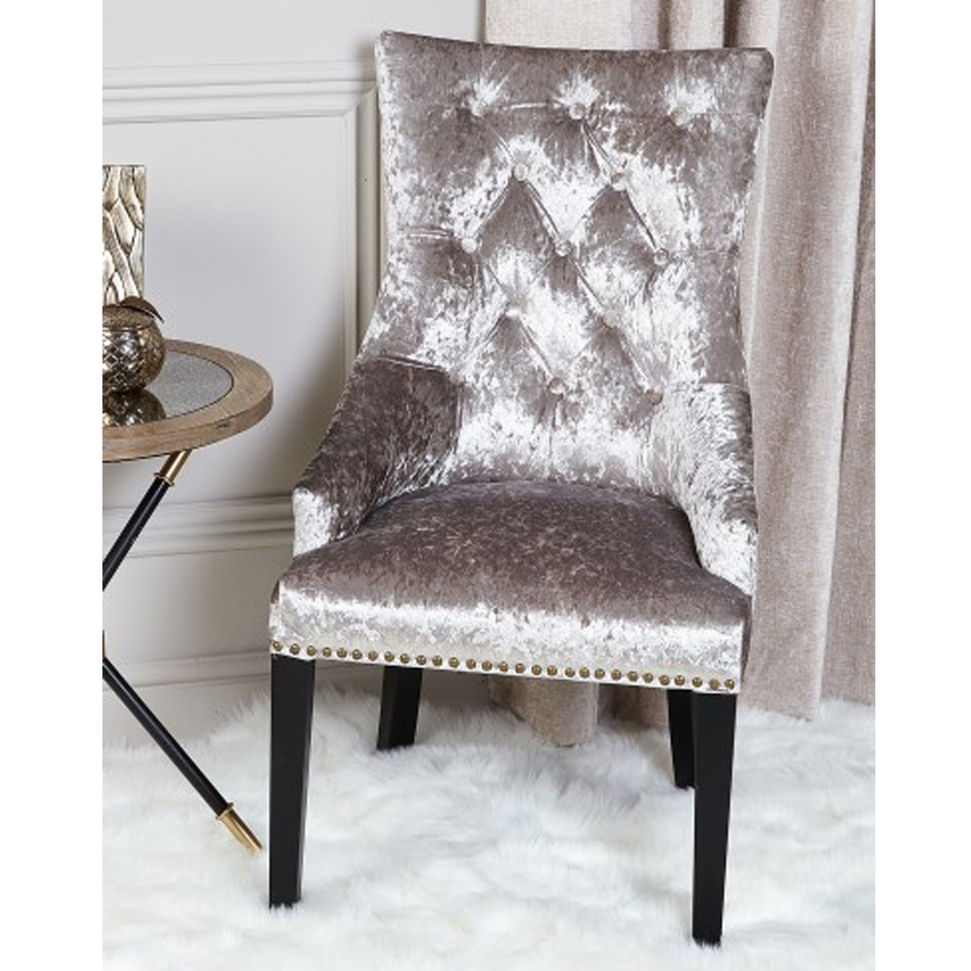 Silver Crushed Velvet Dining Chair