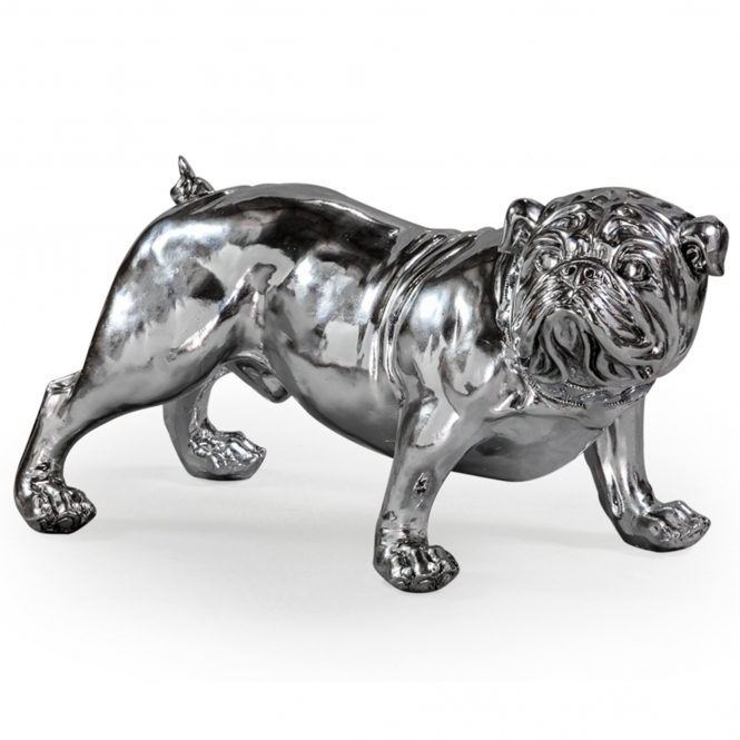Silver Effect Bulldog With Collar