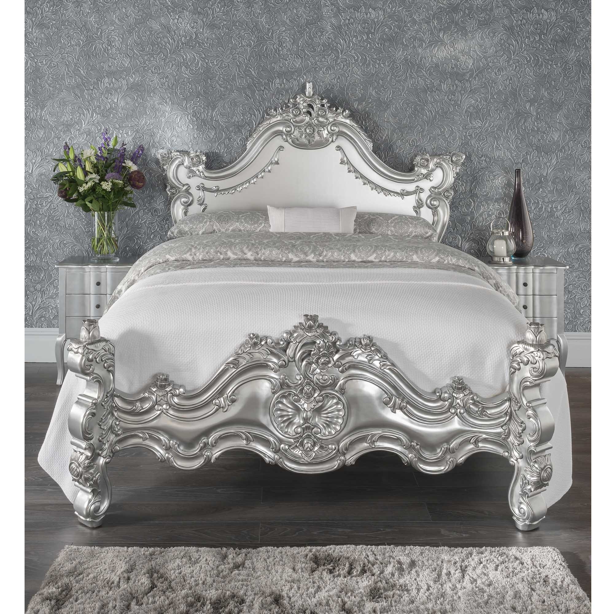 Silver Antique French Style Bed Silver Shabby Chic Beds