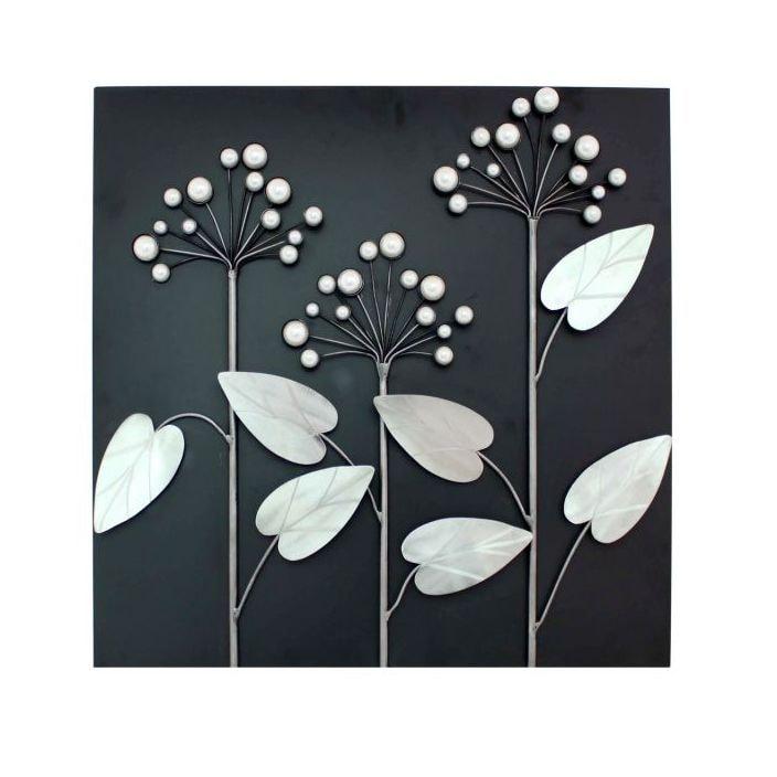 Black Silver Flower Square Metal Wall Art