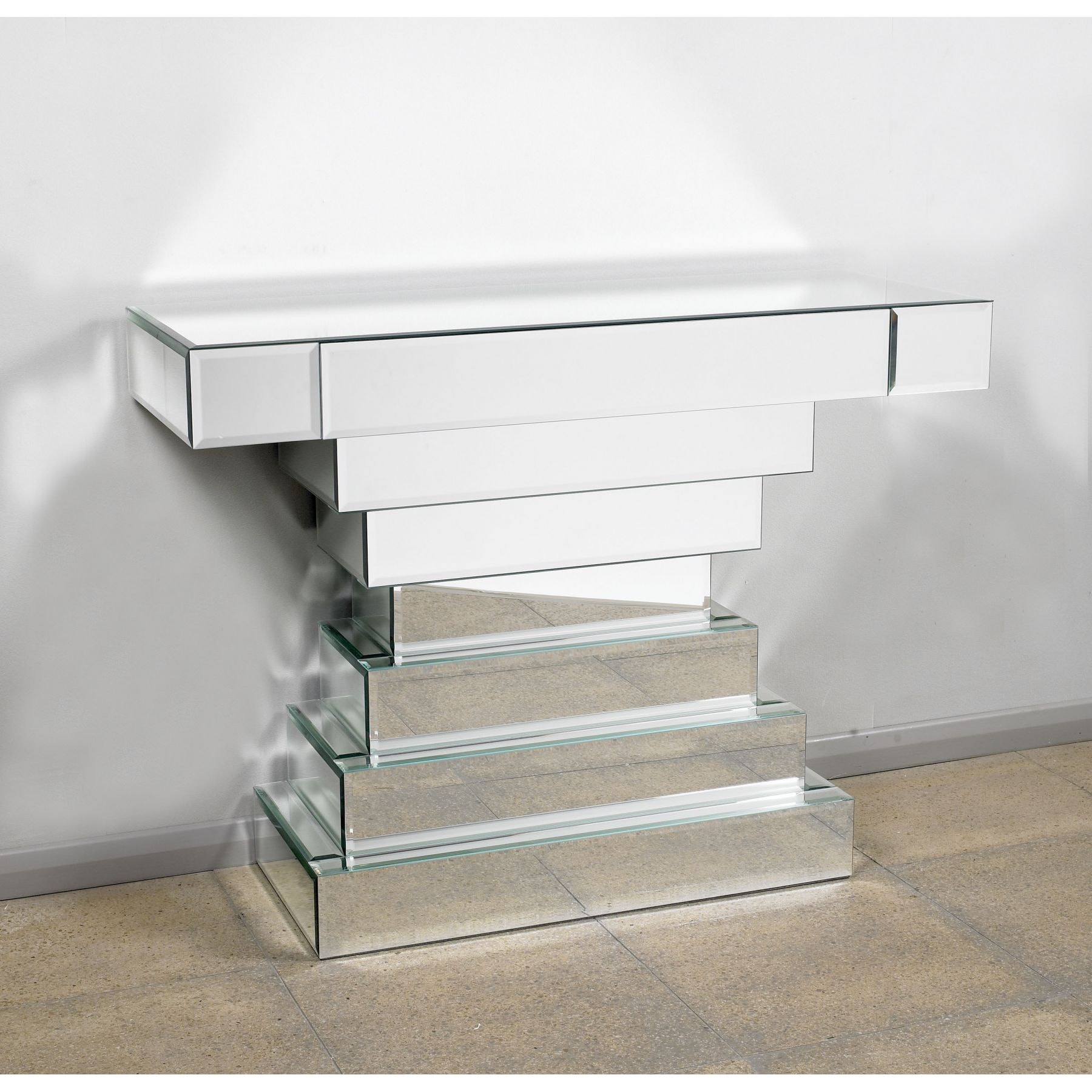 Silver Stacked Glass Console Table