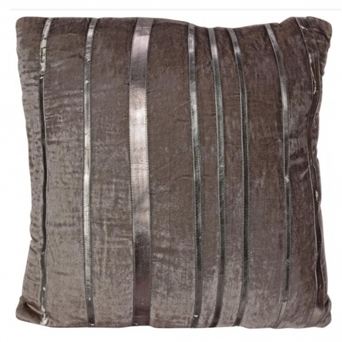 Silver & Grey Velvet Filled Cushion