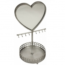 Silver Heart Jewellery Mirror