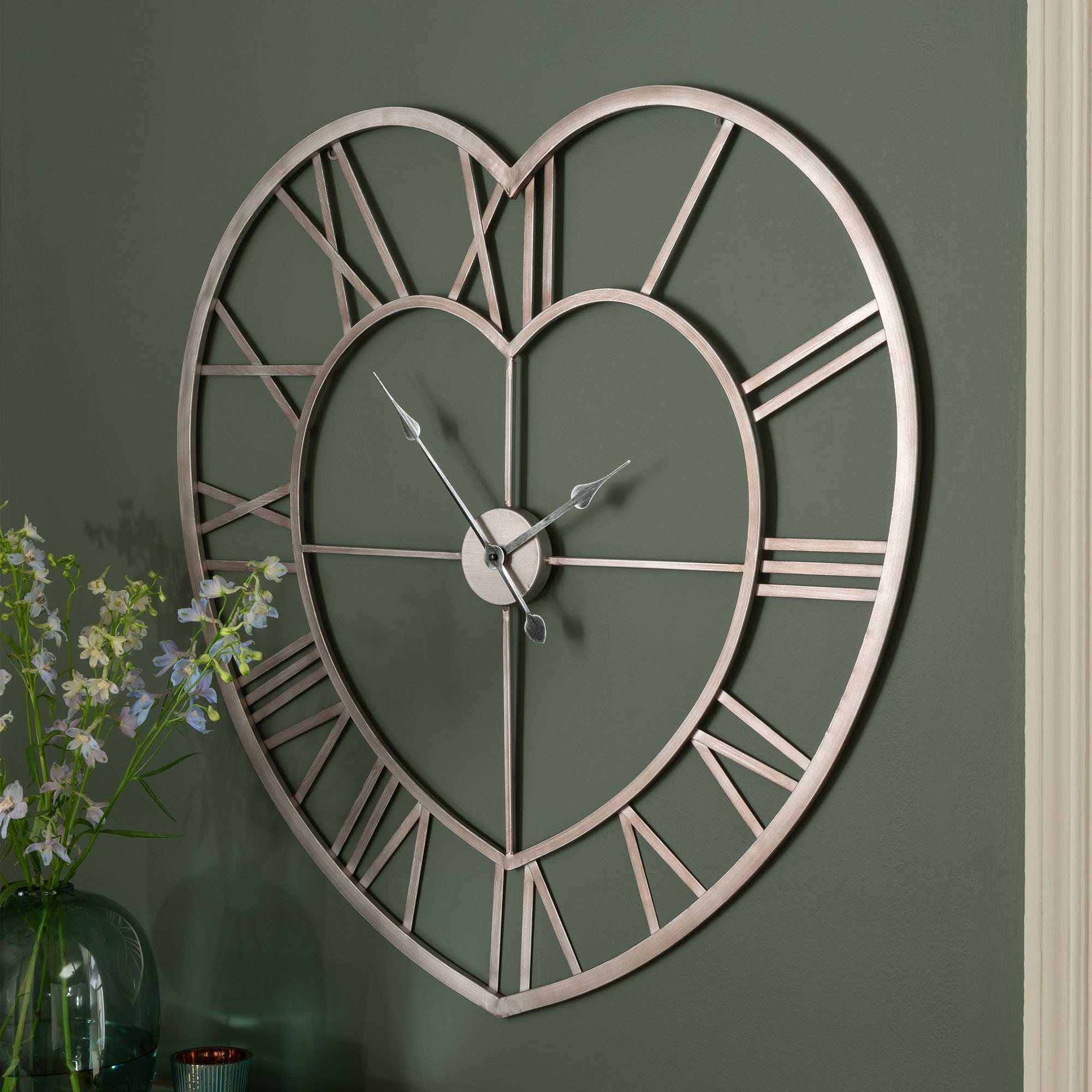 Silver Heart Shaped Metal Frame Wall Clock Clock