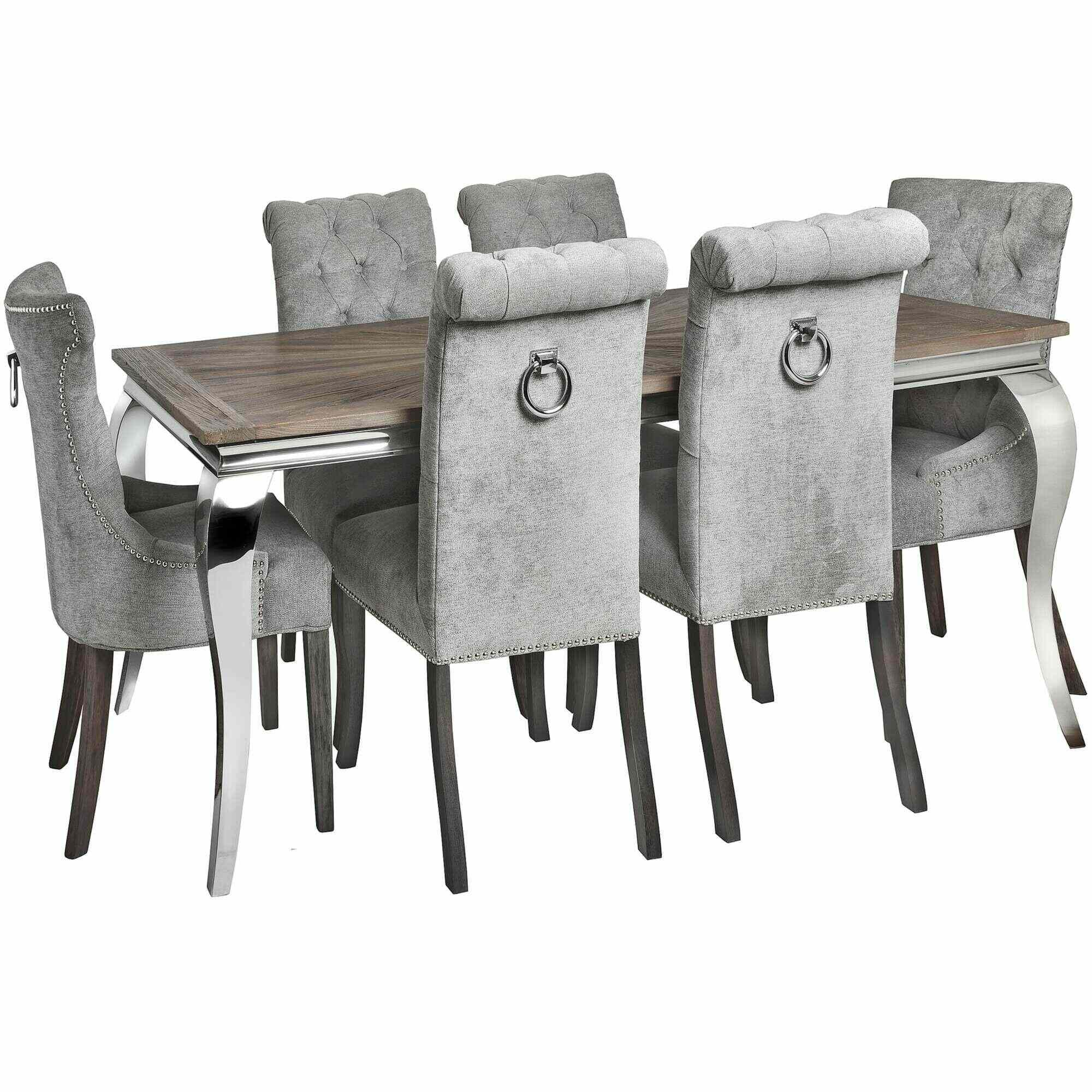 Silver High Wing Back Knocker Dining Chair Dining Chair Dining Room