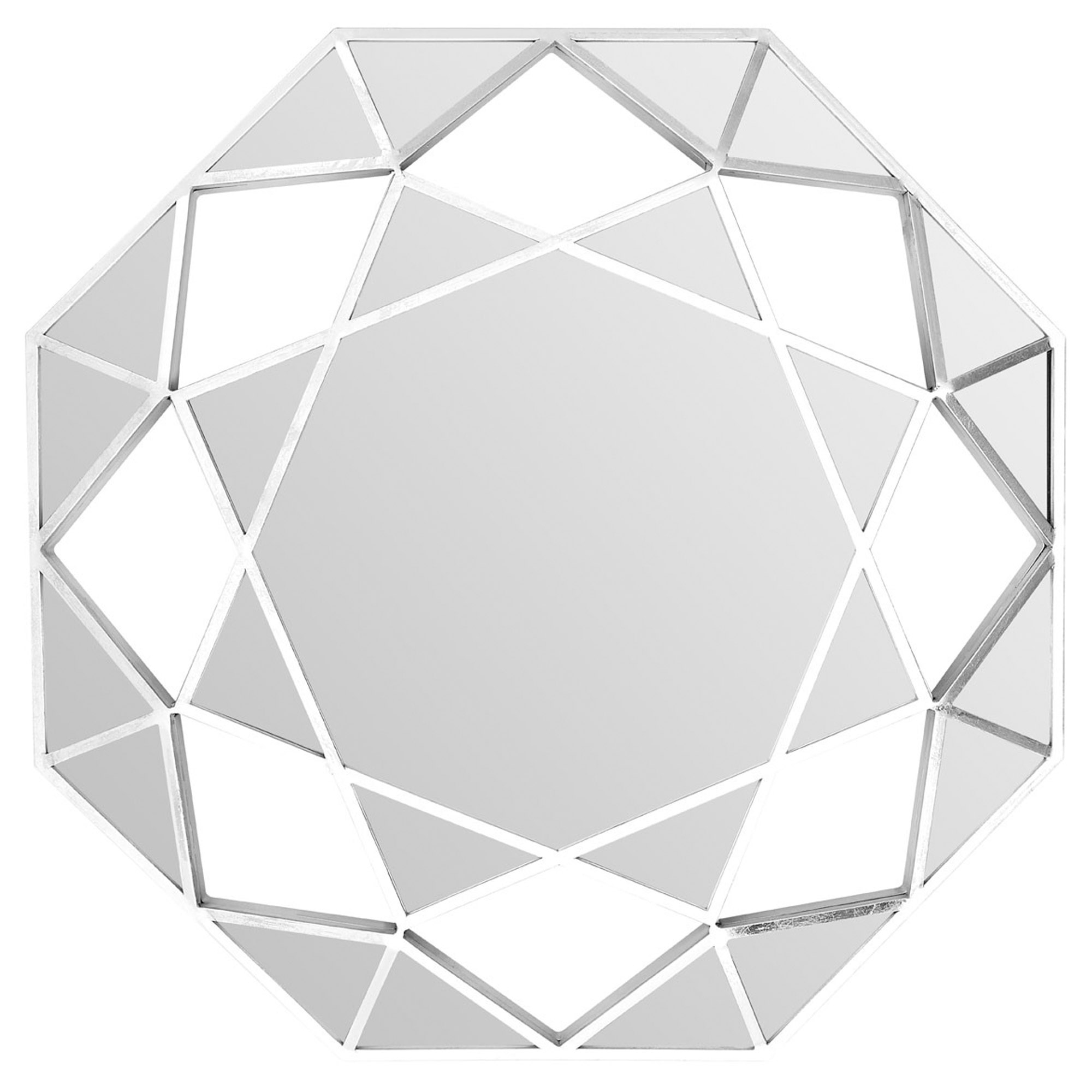 Silver Marcia Faceted Octagonal Wall Mirror Modern Contemporary