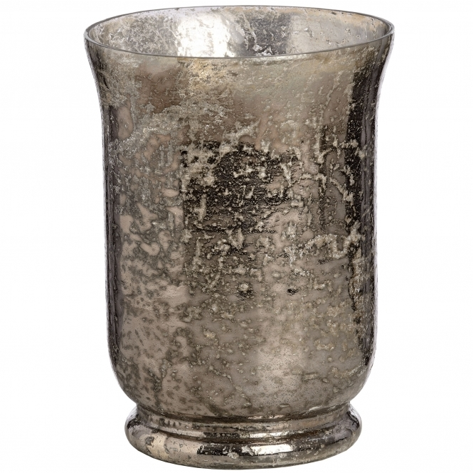 Silver Mercury Large Glass Candle Holder