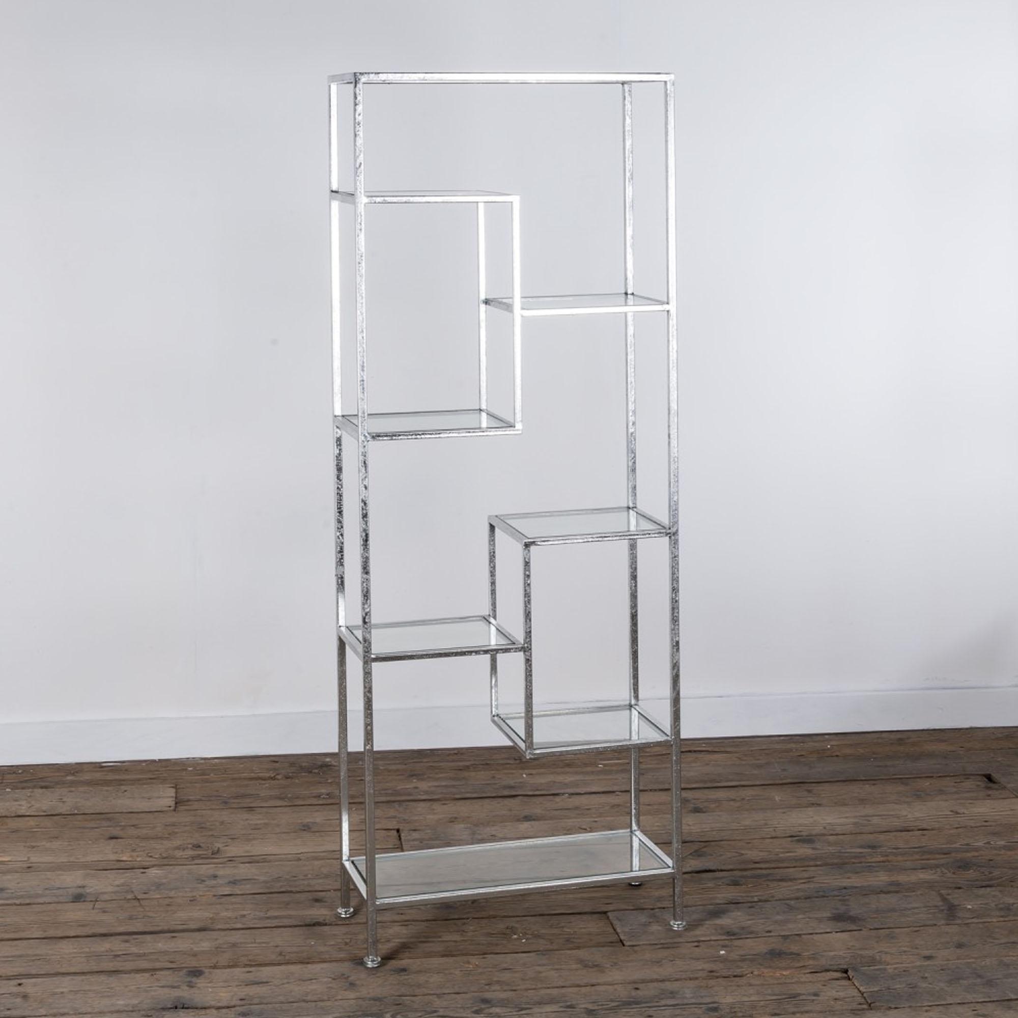 Silver Metal Abstract Shelf Shelving