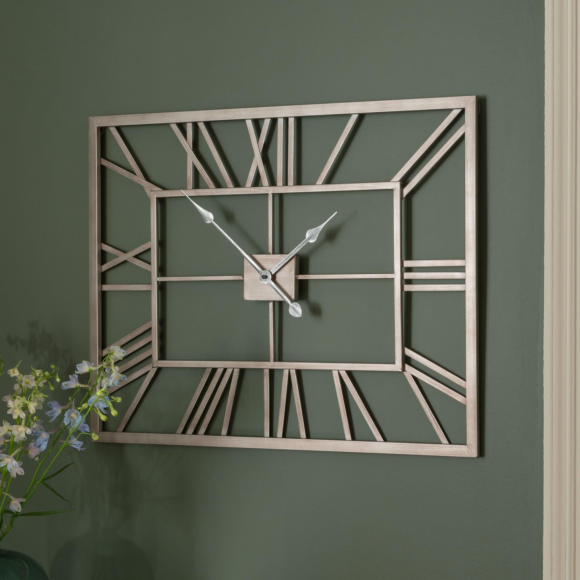Silver Metal Frame Rectangular Clock Wall Clock Large