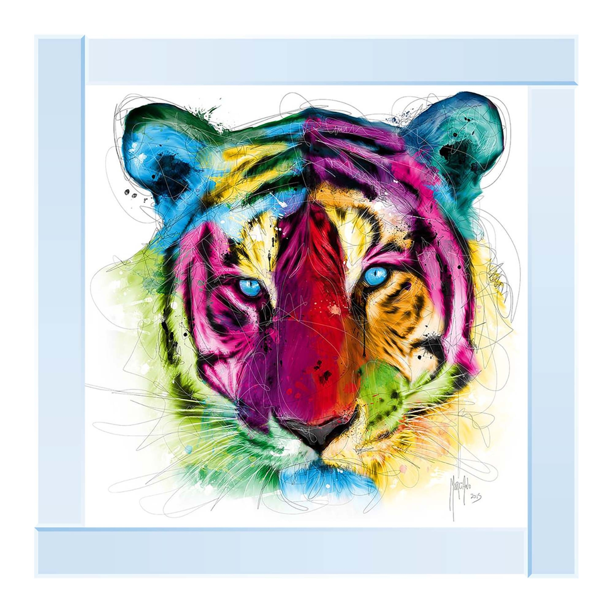 Silver Mirror Colourful Tiger Wall Art Home Accessories