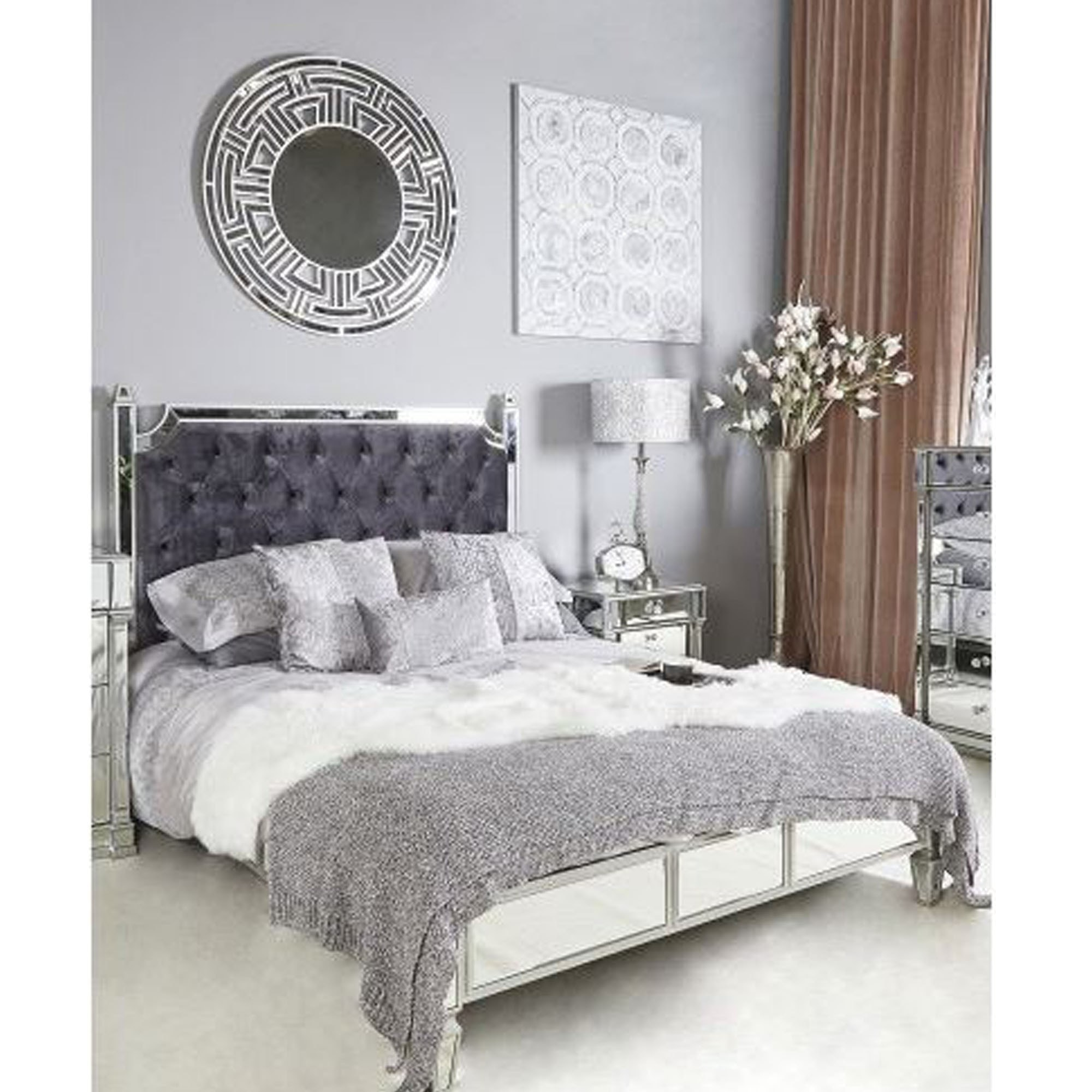 Silver Mirror King Size Bed Frame | French Furniture ...