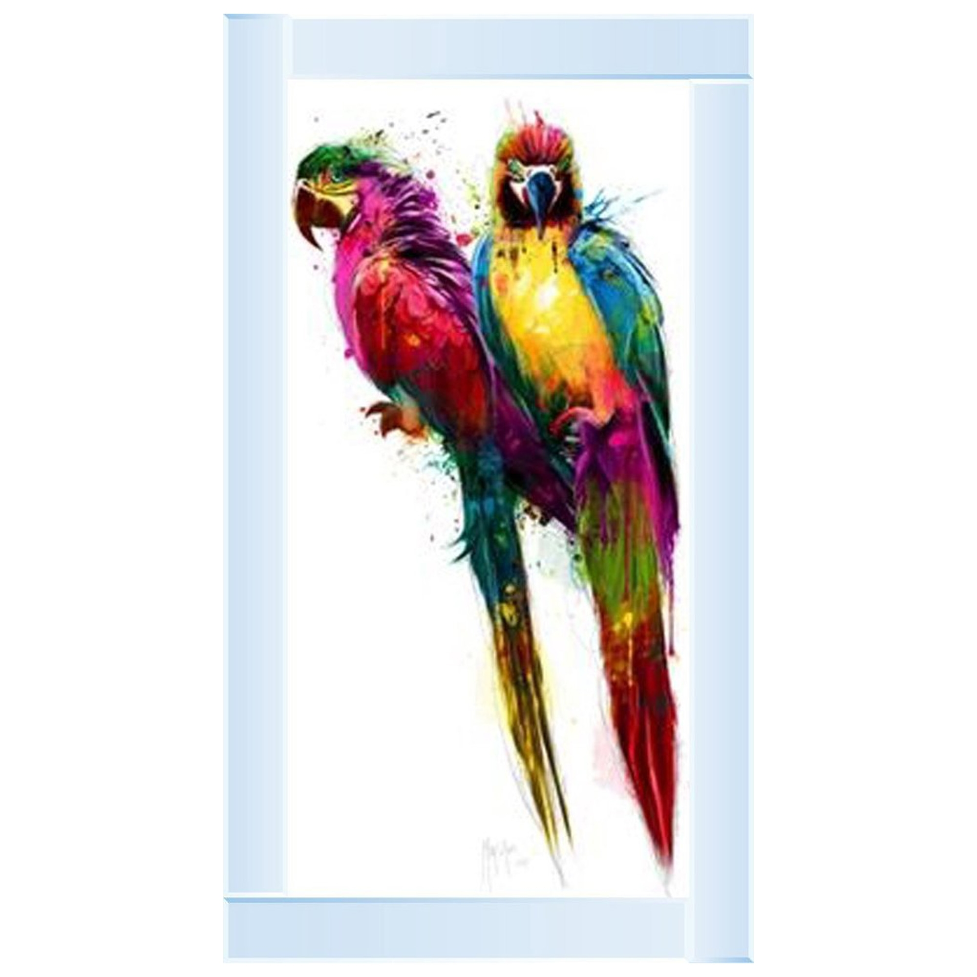 Silver Mirror Multi Coloured Parrot Wall Art