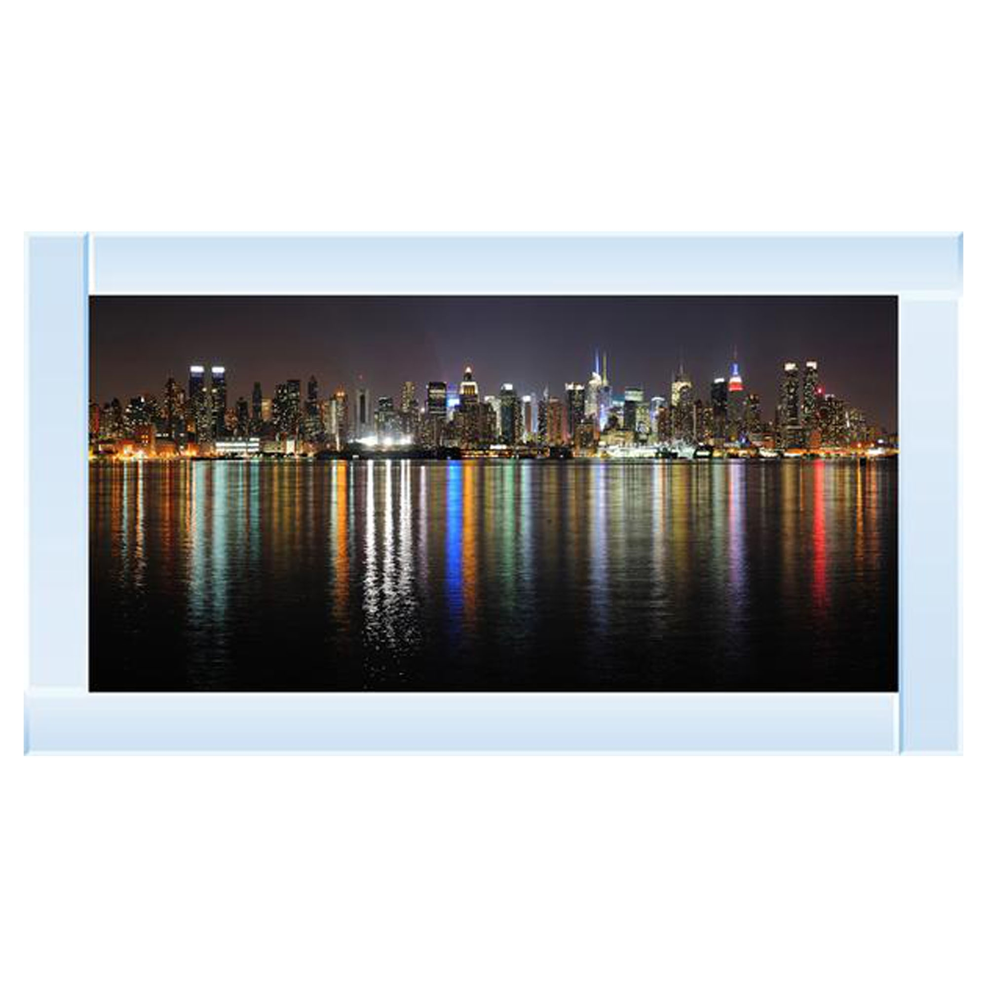 2acfd152980 Silver Mirror New York Skyline Wall Art