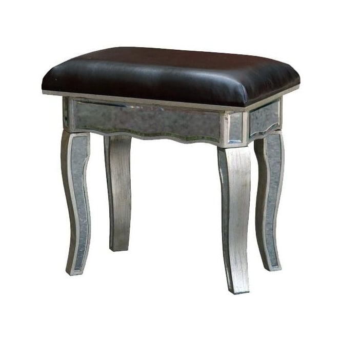 Silver Mirrored Dressing Table Stool