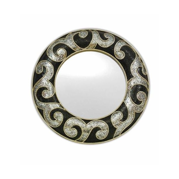 Round Black And Silver Swirl Mosaic Mirror