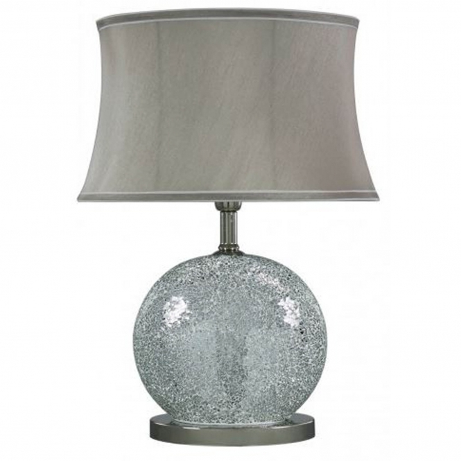 Silver Mosaic Oval Table Lamp