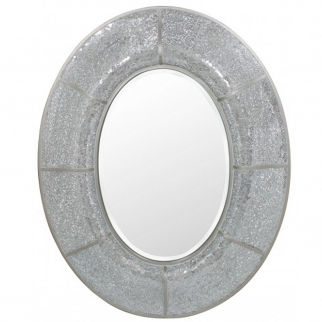 Silver Mosaic Oval Wall Mirror
