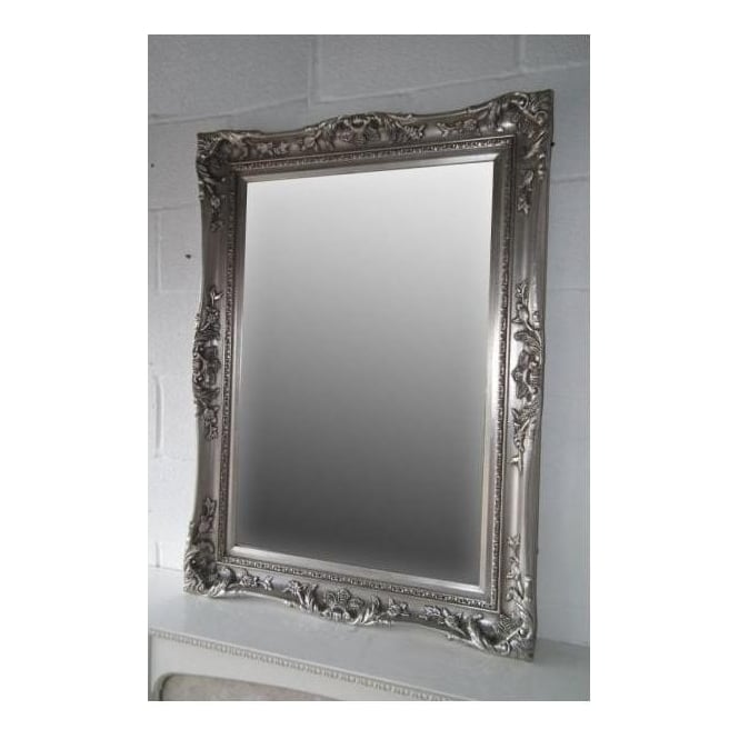 Silver Ornate Antique French Style Wall Mirror