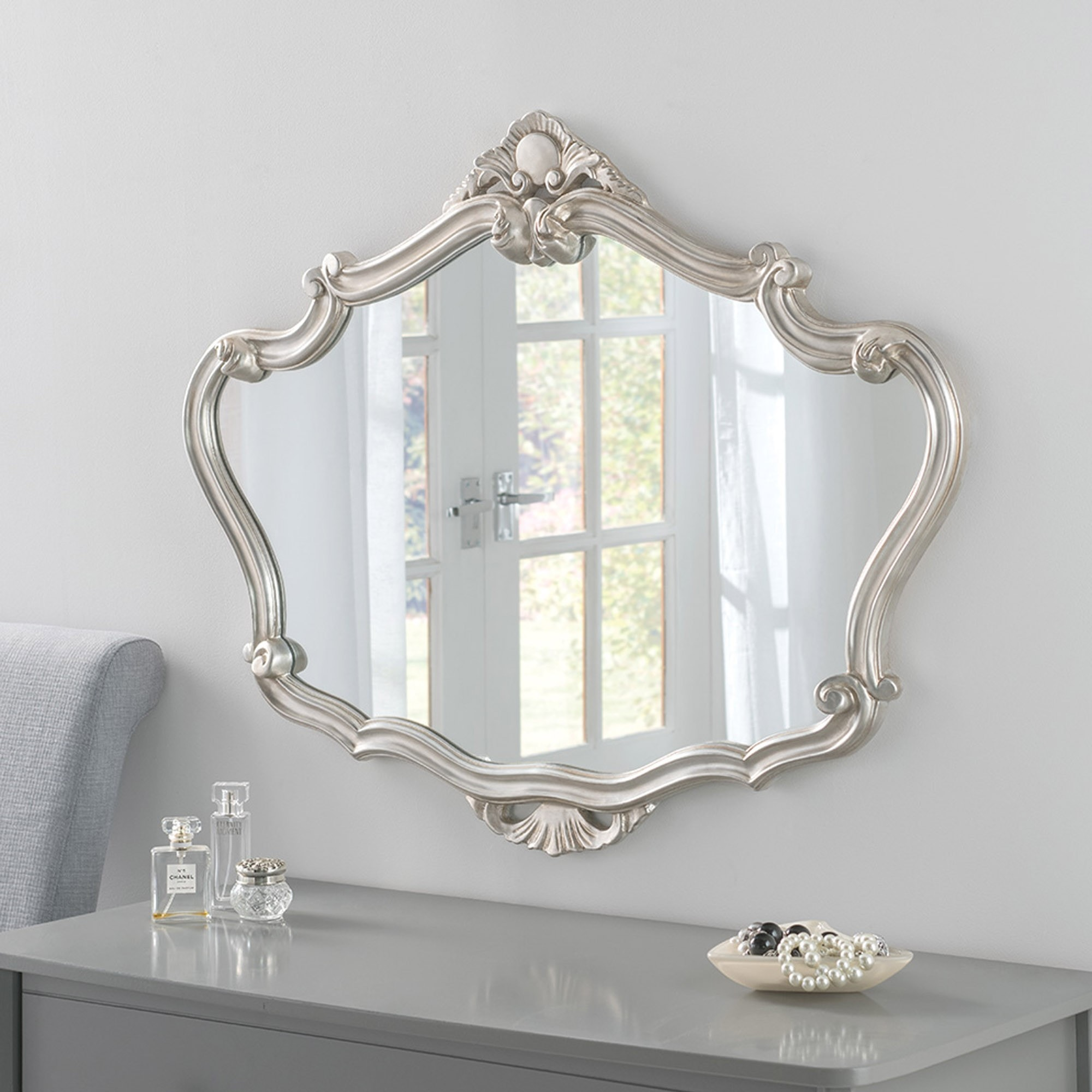 Silver Ornate Detailed Large Mirror Silver Ornate Mirror