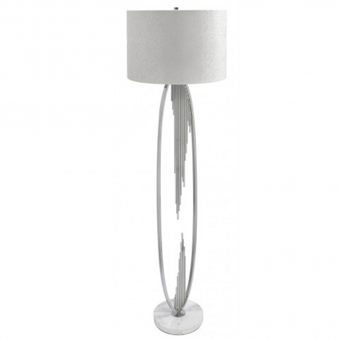 Silver Oval Abstract Floor Lamp