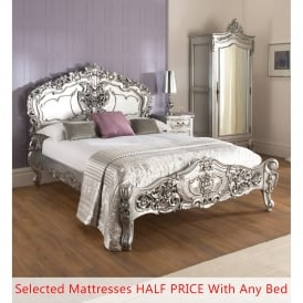 Silver Rococo Antique French Bed (Size: Double) + Mattress - Bundle Deal